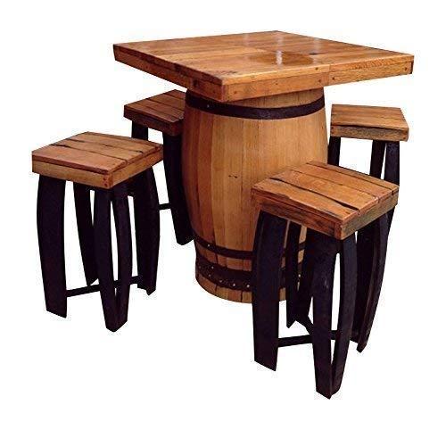 Handgemachte Quadrat Fass Massivholz Eiche Getränke Tisch & 4 Stuhl Set Fass Möbel