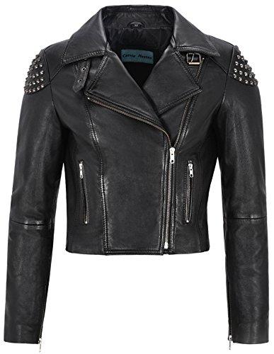 Smart Range Giacca in Pelle Donna Nero delle Signore Studs del Motociclista della Roccia Reale Nappa 'Skull Borchie' (10)