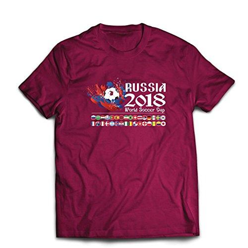 lepni.me Camisetas Hombre Copa Mundial de Rusia 2018, Las 32 Banderas Nacionales del Equipo de fútbol (Medium Borgoña Multicolor)