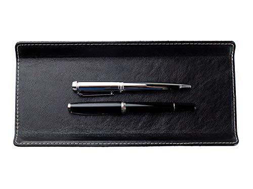 DELMON VARONE - Federschale aus Premium Leder Vintage Anilin schwarz, Echtleder Stiftablage für Kugelschreiber und Füller, Elegante Stifteschale mit Schwerer Metalleinlage für Schreibtisch und Büro