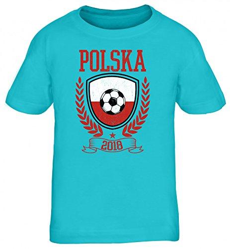 Polska Polen Fußball WM Fanfest Gruppen Kinder T-Shirt Rundhals Mädchen Jungen Pokal Polska 2018, Größe: 134/146,Türkis