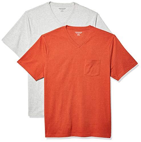 Amazon Essentials 2-Pack Regular-Fit V-Neck Pocket T-Shirt Fashion-t-Shirts, Naranja Mezcla/Gris Claro Mezcla, M