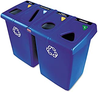 Rubbermaid Commercial 1792372 Glutton Recycling Station, Four-Stream, 92 gal, Blue