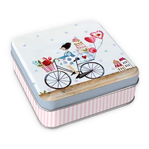 Geburtstags - Geschenkdose \'Fahrrad\' | Mini Geschenkbox und Schmuckdose aus Blech | Geschenkverpackung leer, zum Befüllen, quadratisch klein, mit Deckel