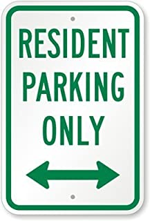 WERRT Resident Parking Only (with Bidirectional Arrow) Sign, 8
