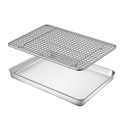 Baking Sheet with Rack Set – Fungun 12 inch Stainless Steel Heavy-Duty Cookie Half Sheets Oven Tray for Baking with Oven Safe Baking/Cooling Rack