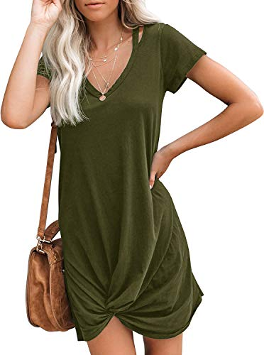 Berryou Women's Casual Short Sleeve V Neck Front Knot Twist Tie T Shirt Dress