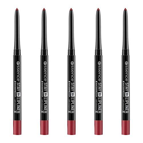 essence STAY 8h WATERPROOF LIPLINER, Lip Pencil, Lippenkonturenstift, Nr. 07 honest, rot, langanhaltend, farbintensiv, matt, vegan, wasserfest, Nanopartikel frei, 5er Pack (5 x 0,28g)