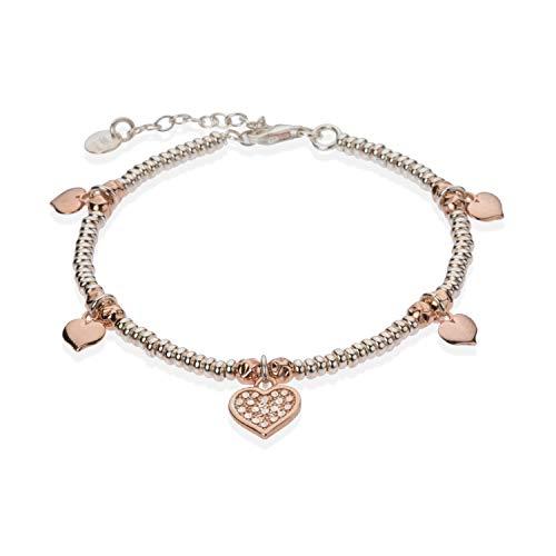 Pulsera estilo Dodo con estrellas o corazones | Oro blanco y oro rosa | de plata 925 hipoalergénica bicolor plateado