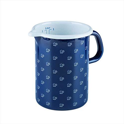 Riess, 0338-074, Küchenmaß 10 1,0 L, COUNTRY - DIRNDL, Durchmessser 10 cm, Höhe 14,8 cm, Inhalt 1,0 Liter, Emaille, dirndlblau, blau/weiß