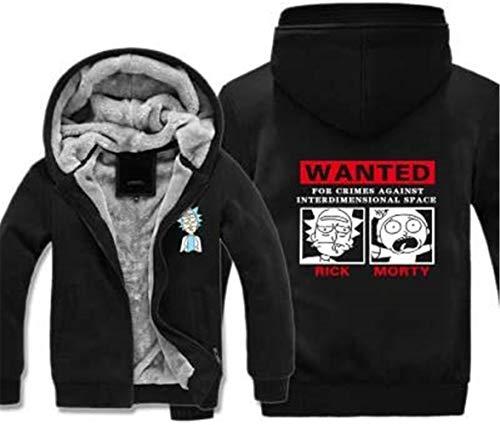 DFR-lumb Top Pullover Sudadera - Rick and Morty Print Chaqueta casual para hombre con cremallera primavera suéter con costura manga larga béisbol uniforme abrigo - regalo adolescente negro -XL