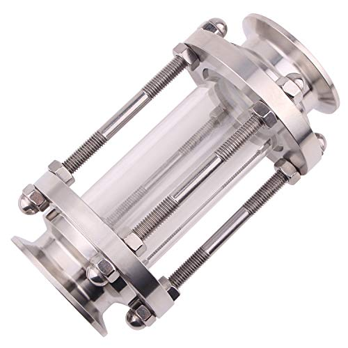 DERNORD in-Line Sight Glass with Clamp End,Flow Sanitary Straight Sight Glass SUS316 2 Inch Tri Clamp Type (Flow Pipe OD 45MM)