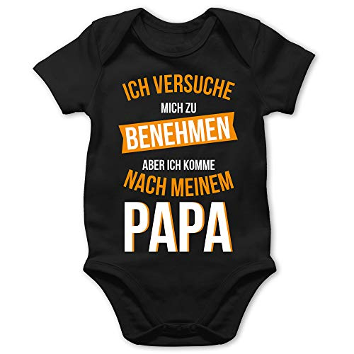 Sprüche Baby - Ich versuche Mich zu benehmen Papa orange - 6/12 Monate - Schwarz - Tshirt ich werde großer Cousin - BZ10 - Baby Body Kurzarm für Jungen und Mädchen