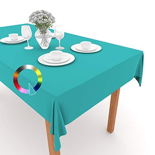 Rollmayer Tischdecke Tischtuch Tischläufer Tischwäsche Gastronomie Kollektion Vivid Uni einfarbig pflegeleicht waschbar (Türkis 17, 140x500cm)