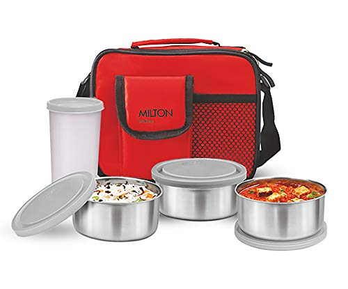 Milton Stainless Steel Combi Lunch Box with Tumbler, 4-Pieces, Red