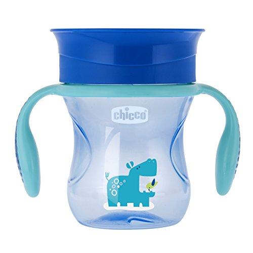 Chicco Perfect 360 - Vaso con membrana de silicona anti goteó, color azul