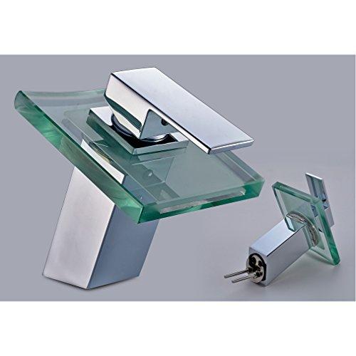 Auralum Wasserhahn Mit Chrom Glas RGB LED Licht Temperatur Waschtisch Wasserfall Armatur - 4