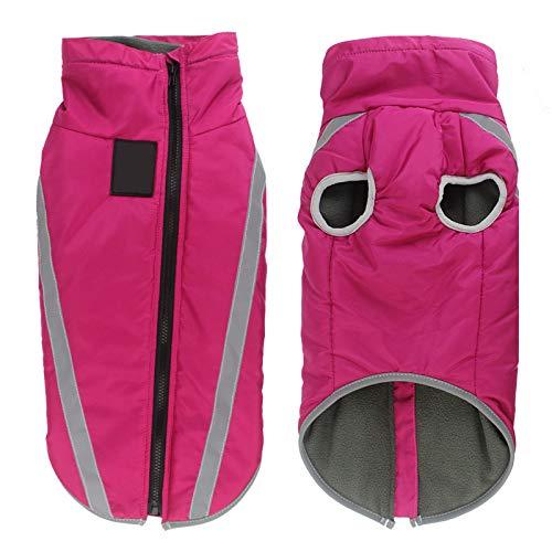 Winterhundejacke, Hundekleidung für kaltes Wetter, reflektierende Streifen, Nachtreisen, einziehbare winddichte Hundekleidung mit hohem Kragen, kältesichere Jacke mit Traktionslochdesign, rosarot