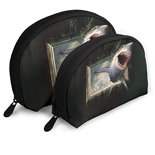 KKLDOGS Shark Jumps Into The Cabin Portable Bags Clutch Pouch Coin Cosmetic Travel Handbag Organizer with Zipper OneBig and OneSmall 2Pcs
