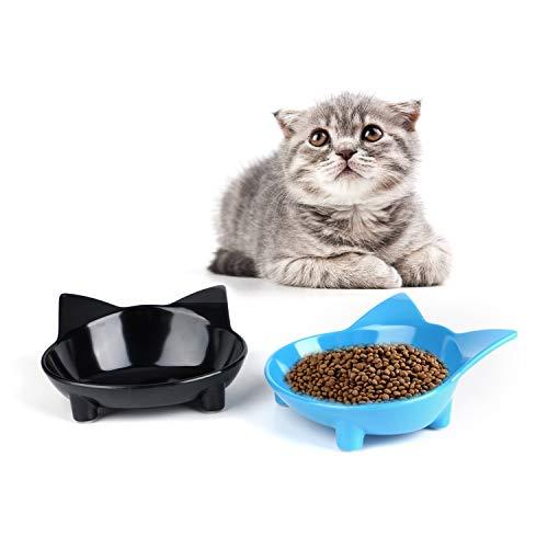 SKRTUAN Katzennäpfe, 2 Stück Futternapf Katze, Futternapf Katze Set, rutschfeste Katzenschale, Futterschüssel Katze, Wasser Fütterung Schüssel, Fressnapf Katze zur Erleichterung von Whisker-Müdigkeit