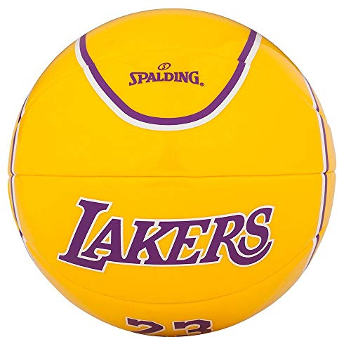 Spalding NBA Player Lebron James SZ.1.5 (65-006Z) Basketball, Juventute, Unisex, Viola/Giallo, 1.5