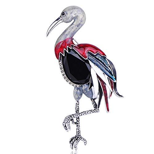 KXBY Elegante broche vogel retro zwart strass grote dieren broche corsage vrouwen mannen verjaardag dames kleding broche