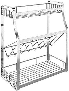ZXZJ 3 Niveaux Permanent Rack Cuisine Salle de Comptoir Organisateur de Stockage Étagère Porte-Rack Cuisine Spice Support ...