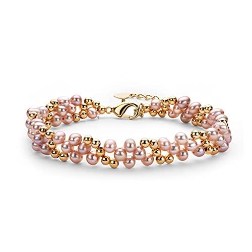 LYNLYN Pulseras 14k Pulsera de múltiples Capas llenas de Oro 4 5 mm Natural Natural Freshwater Pearl Twisted Fashion Bracelet Women Bangle Jewelry Pink Oval Pearl (Color : Purple Oval Pearl)