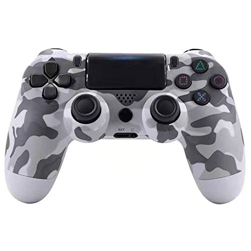 ERGGQAQ Gamepad Inalámbrico Bluetooth, Controlador PS4, con Barra luz LED y Panel Táctil, para Playstation 4 Pro/PC/Teléfono Celular/Tableta/Switch/Joystick Juego DualShock 4,Camo White