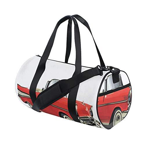 HARXISE Bolsa de Viaje,Coche de Lujo auténtico a la Antigua con Techo Abierto Tema de Transporte de Tiempos pasados,Bolsa de Deporte con Compartimento para Sports Gym Bag