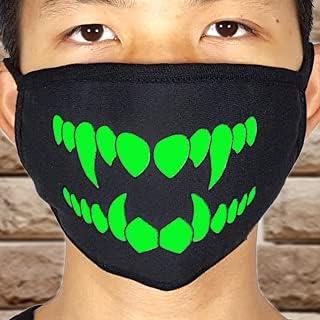 GODPAJ Algodón Grueso Negro Fluorescente Luminoso Cosplay Mascarilla Halloween Carnaval Personaje Fiesta Prop Mascarada 3D Cara Realista Regalo para la Cabeza Invierno