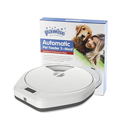 PAWISE Alimentatore Automatico Per Cani e Gatti, 5 Vassoi Per Alimenti Per Alimenti Secchi Umidi, Distributore Automatico Di Alimenti Per Animali Domestici Funzione , 5 x 240 ml
