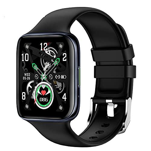 lizeyu Reloj Inteligente con Pantalla Curva, Llamada Bluetooth, sueño, ECG, frecuencia cardíaca, Salud, Deportes, Pulsera, Azul