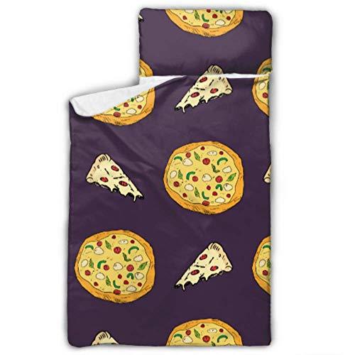 Doreen DaltonKids Schlafsack Pizza-Muster Skizze Nickerchen Matte mit Kissen für Kleinkinder Jungen und Mädchen, Klassische Schlafsack, perfekte Größe für Tagespflege und Vorschule