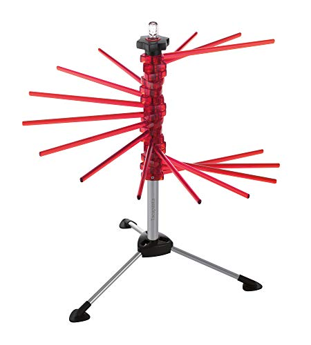 MARCATO DESIGN Marcato Atlas Pasta Drying Rack, Tacapasta, Made in Italy, Steel and Polycarbonate, Collapsible, Red