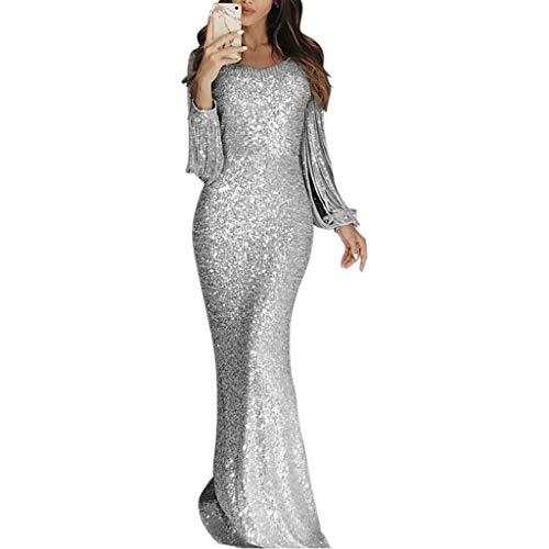 ZHANSANFM Abendkleid Damen Sexy Sequin Partykleid Süße Einfarbige Langarm Meerjungfrau Ballkleid Quaste Lang Cocktailkleider Party Ballkleid Abendkleider Elegant für Hochzeit (2XL, Silber)