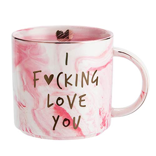 Girlfriend Anniversary, Birthday, Romantic Gift - I Love You - Cute Couple Gifts Ideas for Girlfriend, Wife, Fiance, Mom, Her, Couples - Pink Marble Mug, Ceramic 11.5oz Coffee Cup