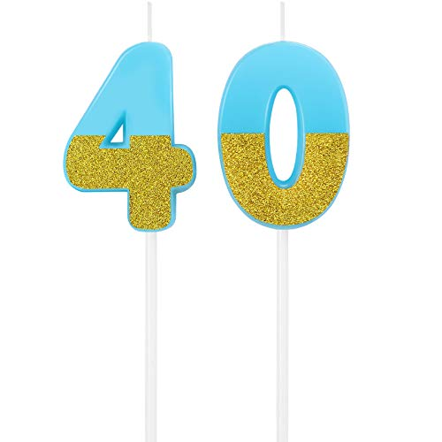 40th Numeral Candle Birthday Candles Cake Topper Happy Birthday Cake Candles Topper Decoration for Wedding Party Adults (Blue)