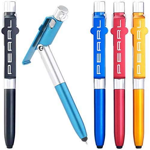 PEARL bolígrafo Con ligero: Bolígrafo 4 en 1 con lámpara LED, Stylus y soporte para teléfono móvil, Juego de 5 (bolígrafo Con LED ligero)