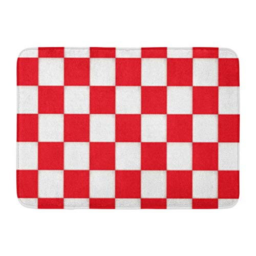 N / A Entrance Carpet Rugs,Washable Area Rug,Absorbent Bath Mat,Non-Slip Doormats,Red Checkerboard 3D Checkered Pattern Abstract Board Check Checker Shower Mat