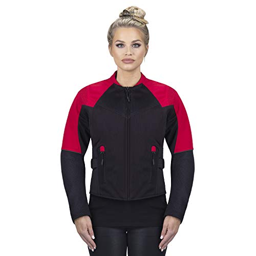 Viking Cycle Freedom Textile Motorcycle Jacket for Women - Waterproof, CE Armor, with Multi Pocket (Red, XX-Large)