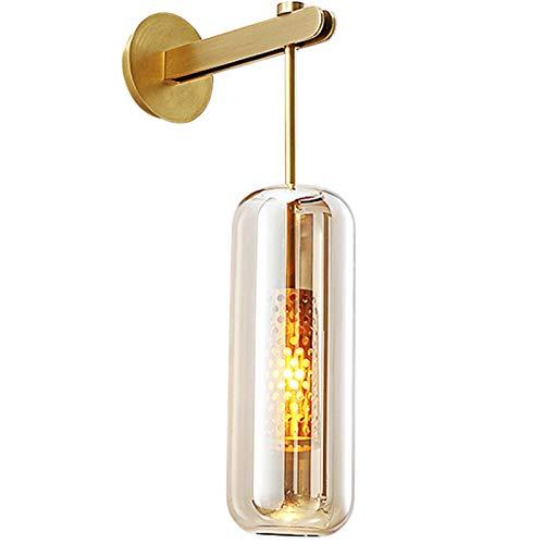 Despeje Lámpara de pared de cobre llena salón dormitorio diseñador de moda estilo moderno del soporte del cobre sencilla lámpara de pared, conveniente for el pasillo, sala, balcón, dormitorio (oro) qu