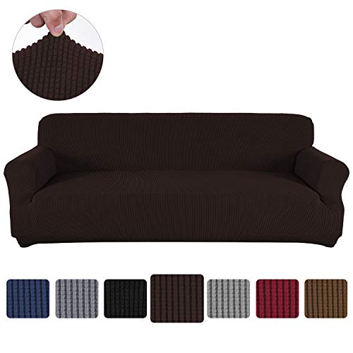 Obstal Stretch Spandex Sofa Cover, 3 Seat Couch Covers for Living Room, Non Slip Sofa Slipcover with Elastic Bottom, Sofa Couch Coverings Furniture Protector for Dogs, Cats, Pets, and Kids