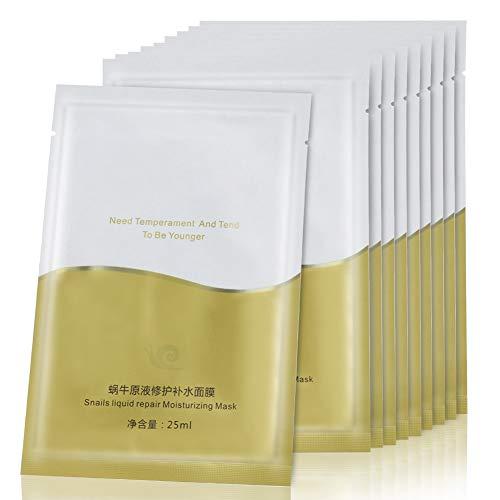 10 Stck Snail Extract feuchtigkeitsspendende Gesichtsmaske, Face Mask, feuchtigkeitsspendende reparierende Gesichtsmaske Hautschutz anti aging Gesichtspflege fur Frauen und Männer