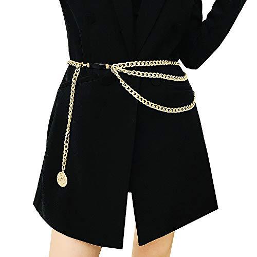 Juland Multicapa Cadena de la Cintura de la aleación Cadena del Cuerpo para Cinturón Dorado para Mujer Cadena Colgante del Vientre Arnés de Cuerpo Ajustable para Vestidos de Jeans - Cangrejo
