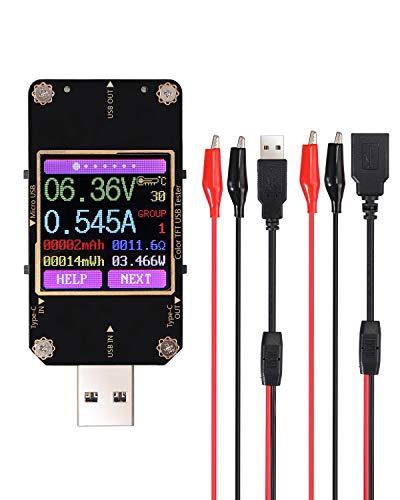 ESYNiC USB Tester di Potenza Bluetooth USB Type-C Misuratore Digitale di Corrente Tensione LCD a Colori USB Amperometro Voltmetro Misuratore Capacità Batteria PD USB Multimetro con Cavo Puntali
