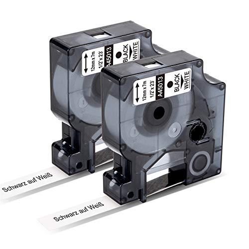 Markurlife Kompatibel Etikettenband als Ersatz für DYMO D1 45013 S0720530 Schwarz auf Weiß für Dymo LabelManager 280 160 210D LabelPoint 150 250, LabelWriter 450 DUO,12mm x 7m,2 Packungen