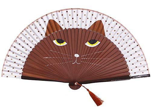 Abanico plegable de mano para mujer, diseño de gato (negro, marrón, amarillo)...