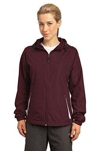 Sport-Tek - Ladies Colorblock Hooded Windbreaker Jacket. LST76,Large,Maroon / White