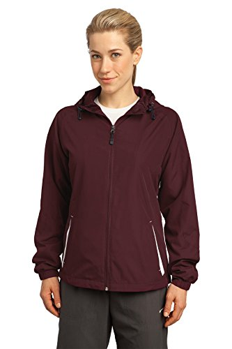 Sport-Tek - Ladies Colorblock Hooded Windbreaker Jacket. LST76,Large,Maroon / White